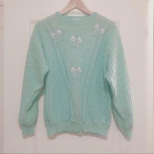 Vintage Italian mint green sweater bow ties